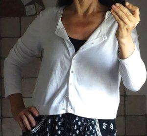 Hallhuber Strickbolero/Westchen, kurze Strickjacke, sommerlich, weiß, Baumwolle, Langarm, Rundhals, Rippbündchen, Perlknöpfe, mit XL bezeichnet, passt aber bei kleinerer Größe auch, neuwertiger, TOP Zustand, Gr. M-L-XL