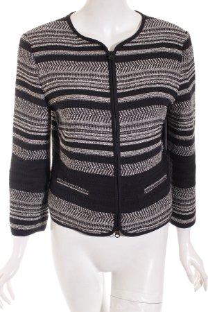 Hallhuber Strickjacke schwarz-weiß Streifenmuster Casual-Look