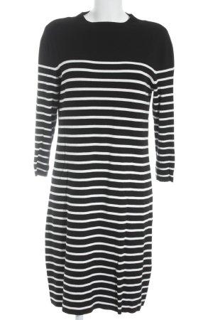 Hallhuber Strickkleid schwarz-weiß Streifenmuster schlichter Stil