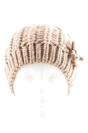 Hallhuber Chapeau en tricot marron clair style décontracté