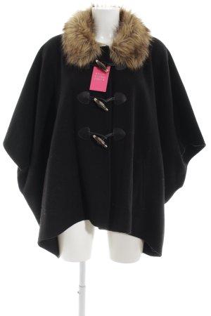 Hallhuber Strickponcho schwarz-braun Elegant