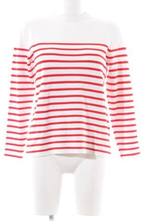Hallhuber Strickpullover weiß-rot Streifenmuster Casual-Look