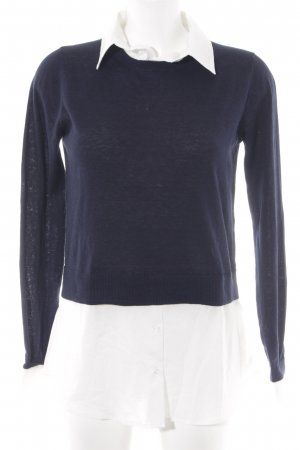 Hallhuber Strickpullover dunkelblau-weiß Casual-Look