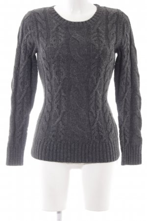 Hallhuber Strickpullover grau Zopfmuster Casual-Look