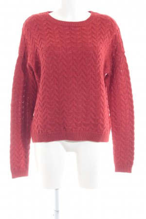 Hallhuber Strickpullover rot Zopfmuster Casual-Look