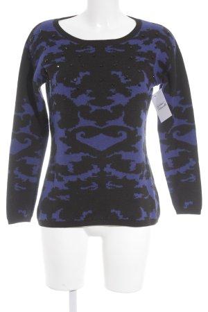 Hallhuber Strickpullover schwarz-blau abstraktes Muster Casual-Look