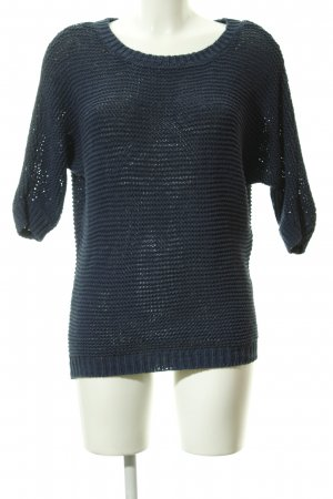 Hallhuber T-shirts en mailles tricotées bleu foncé Motif de tissage