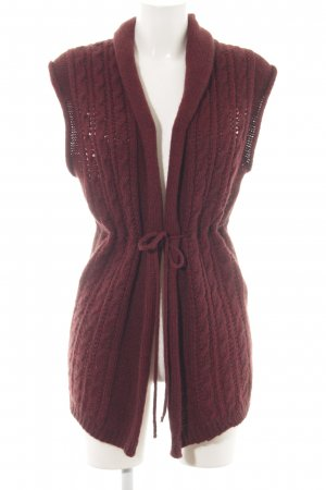 Hallhuber Knitted Vest bordeaux weave pattern casual look