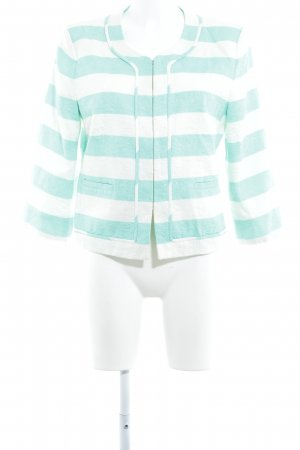 Hallhuber Blazer de tela de sudadera blanco-turquesa estampado a rayas elegante