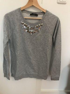 Hallhuber sweater steinchen Strass Glitzer grau Pulli
