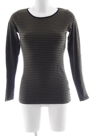 Hallhuber Sweatshirt donkergroen-zwart gestreept patroon casual uitstraling
