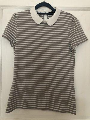Hallhuber T-Shirt Bubikragen grau weiß Gr. M