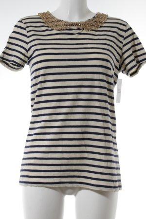 Hallhuber T-Shirt creme-blau Streifenmuster Romantik-Look