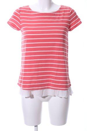 Hallhuber T-Shirt rot-weiß Streifenmuster Casual-Look