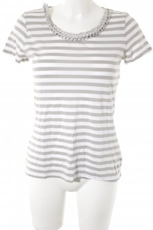 Hallhuber T-Shirt grau-weiß Ringelmuster minimalistischer Stil