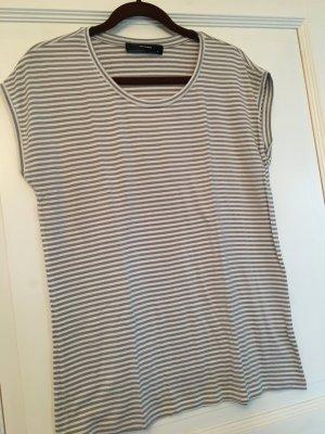 Hallhuber T-Shirt grau / weiß Streifen Gr. S