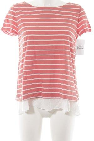 Hallhuber T-Shirt lachs-weiß Streifenmuster Casual-Look
