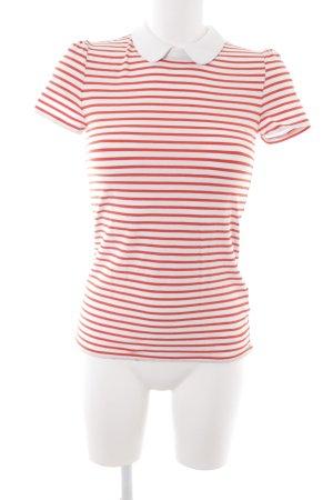 Hallhuber T-shirt rouge-blanc motif rayé style classique