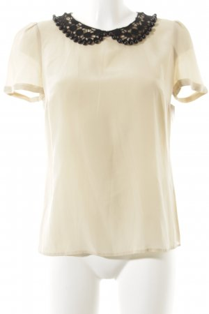 Hallhuber T-Shirt schwarz-creme Häkel-Detail