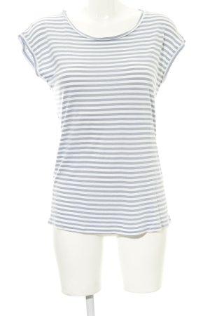 Hallhuber T-Shirt weiß-blassblau Streifenmuster Casual-Look