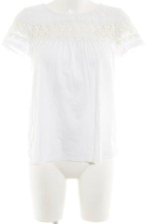 Hallhuber T-shirt blanc motif de fleur style décontracté