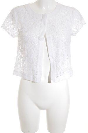 Hallhuber T-Shirt weiß florales Muster Glitzer-Optik