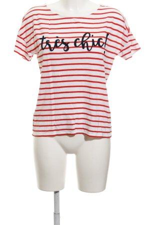 Hallhuber T-shirt blanc-rouge lettrage brodé style décontracté