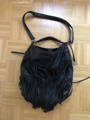 Hallhuber Fringed Bag black-silver-colored