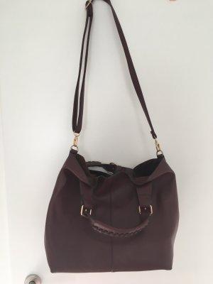 Hallhuber Tasche mit Schulterriemen in Bordeaux Rot