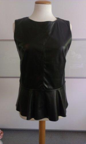 Hallhuber Top mit Lederimitat, schwarz