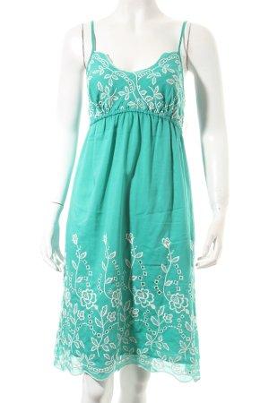 Hallhuber Trägerkleid türkis-weiß florales Muster Romantik-Look