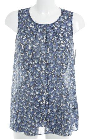 Hallhuber Trägertop dunkelblau-weiß abstraktes Muster Romantik-Look