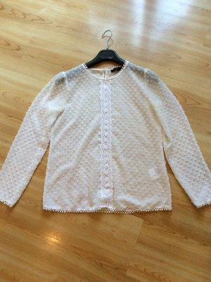 Hallhuber Transparente weiße Shirtbluse Gr 36