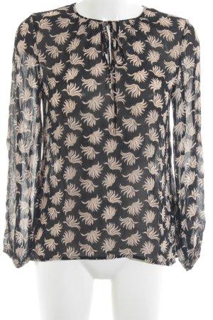 Hallhuber Transparenz-Bluse abstraktes Muster schlichter Stil