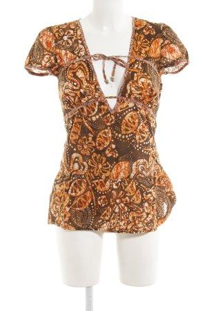 Hallhuber trend Kurzarm-Bluse abstraktes Muster extravaganter Stil