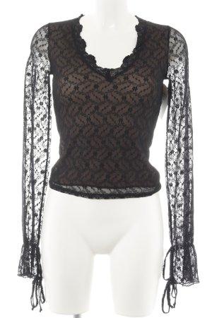 Hallhuber trend Langarm-Bluse camel-schwarz florales Muster Spitzen-Optik