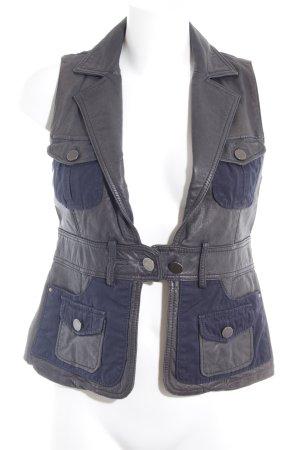 Hallhuber trend Lederweste schwarz-dunkelblau Metallelemente