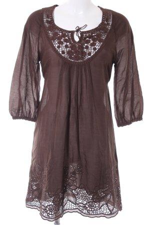 Hallhuber Vestido tipo túnica marrón oscuro look casual