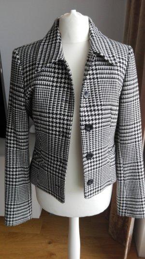 Hallhuber Tweed Jacke Blazer Gr. 34 schwarz-weiss Karo Hahnentritt.Muster