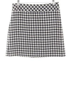 Hallhuber Falda Tweed negro-blanco estampado a cuadros estilo sencillo