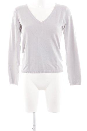 Hallhuber V-Ausschnitt-Pullover hellgrau schlichter Stil