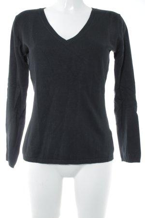 Hallhuber V-Ausschnitt-Pullover schwarz schlichter Stil