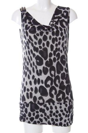 Hallhuber Cowl-Neck Top light grey-black allover print elegant