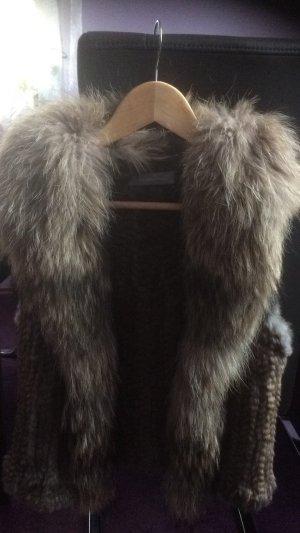 Hallhuber Donna Gilet en fourrure gris pelage