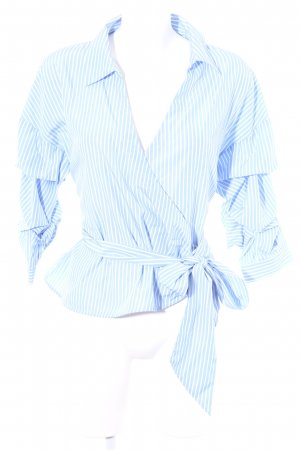 Hallhuber Wraparound Blouse white-azure striped pattern casual look
