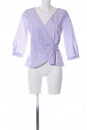 Hallhuber Wikkelblouse wit-lila gestreept patroon casual uitstraling