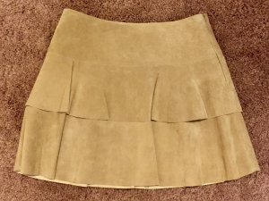 Hallhuber Falda de cuero beige-nude Gamuza