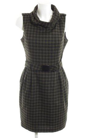 Hallhuber Vestido de lana caqui-negro estampado a cuadros elegante