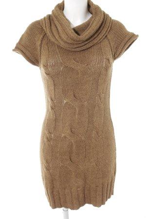 Hallhuber Vestito di lana ocra punto treccia stile casual