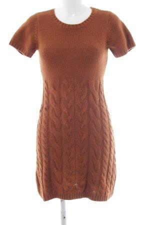 Hallhuber Wollen jurk roodbruin kabel steek casual uitstraling